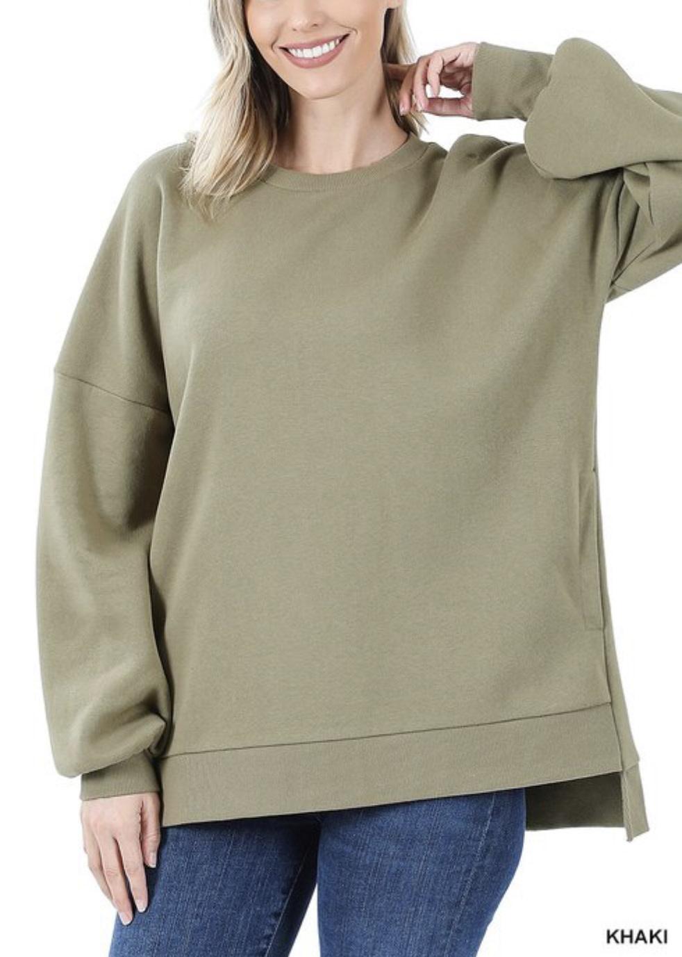 Khaki Sweatshirt w/ Pockets