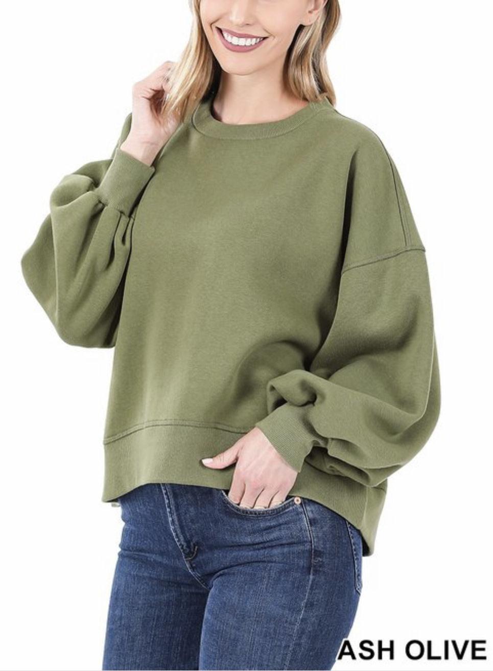Olive Balloon Sleeve Sweatshirt