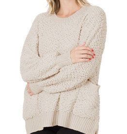 Cream Popcorn Pullover Sweater