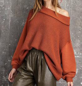 Multi Fabric Rust Sweater