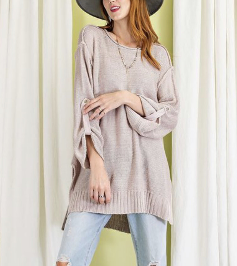 Rolled Sleeve Knit Sweater