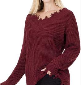 Distressed Waffle Sweater