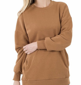 Dark Camel Long Sweatshirt