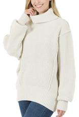 Cream Oversized Turtle Sweater