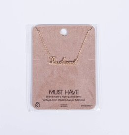 Gold Cursive Indiana Necklace