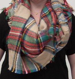 Beige & Multi Color Plaid Blanket Scarf