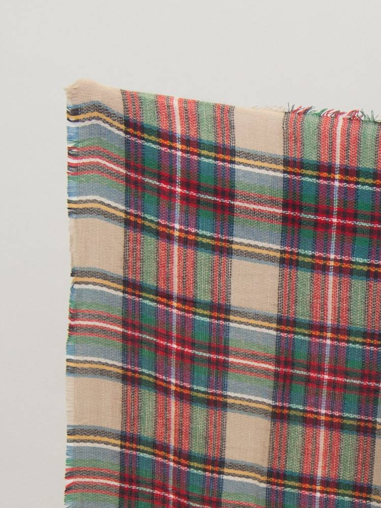 Beige & Multi Color Plaid Blanket Scarf