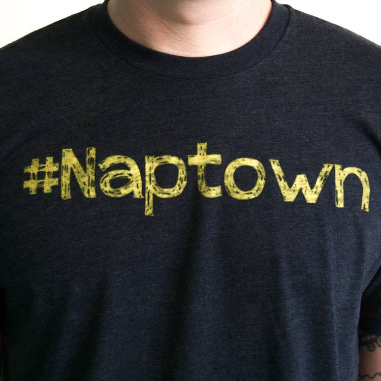 Crew Neck Yellow Font #Naptown Felicia Tees