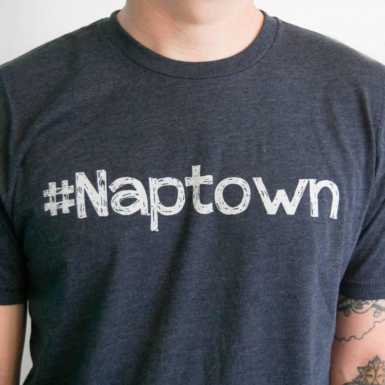 Crew Neck White Font #Naptown Felicia Tees