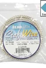 Craft Wire 18ga Twist Square Silver Plate 8ft