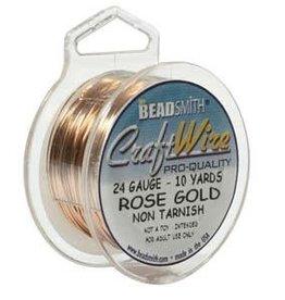 Craft  Wire 24ga Rose Gold Plate 10yd