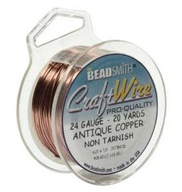 Craft  Wire 24ga.  Antique Copper 20yd