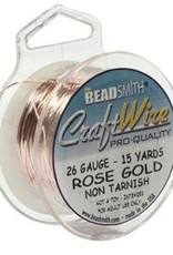 Craft  Wire 26ga. Rose Gold Plate 15yd
