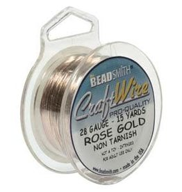 Craft  Wire 28ga. Rose Gold Plate 15yd