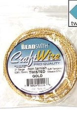 Craft Wire 21ga Twist Gold Plate