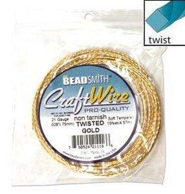 Craft Wire 21ga Twist Gold Plate