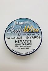 Craft Wire 24ga Round Hematite 10yd