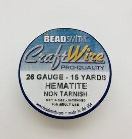 Craft Wire 26ga Round Hematite 15 yd