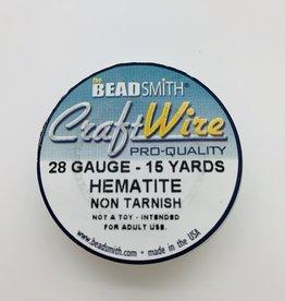 Craft Wire 28ga Round Hematite 15yd