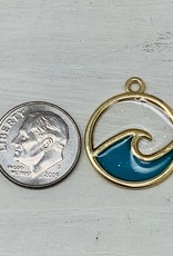 Gold Enamel Wave Charm