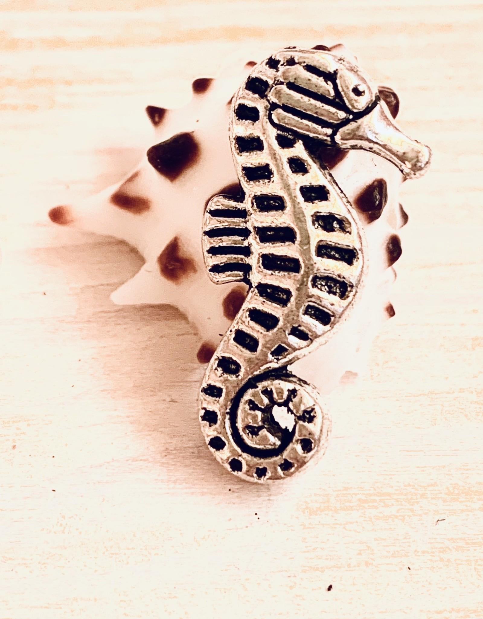 Seahorse Metal Bead Silver