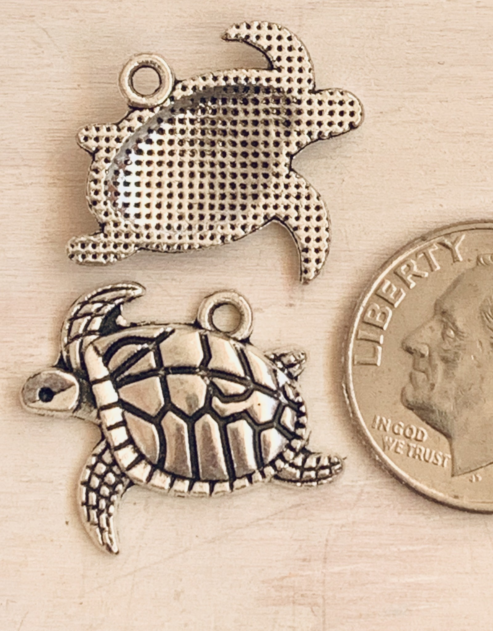 Swimming Turtle Antique Silver