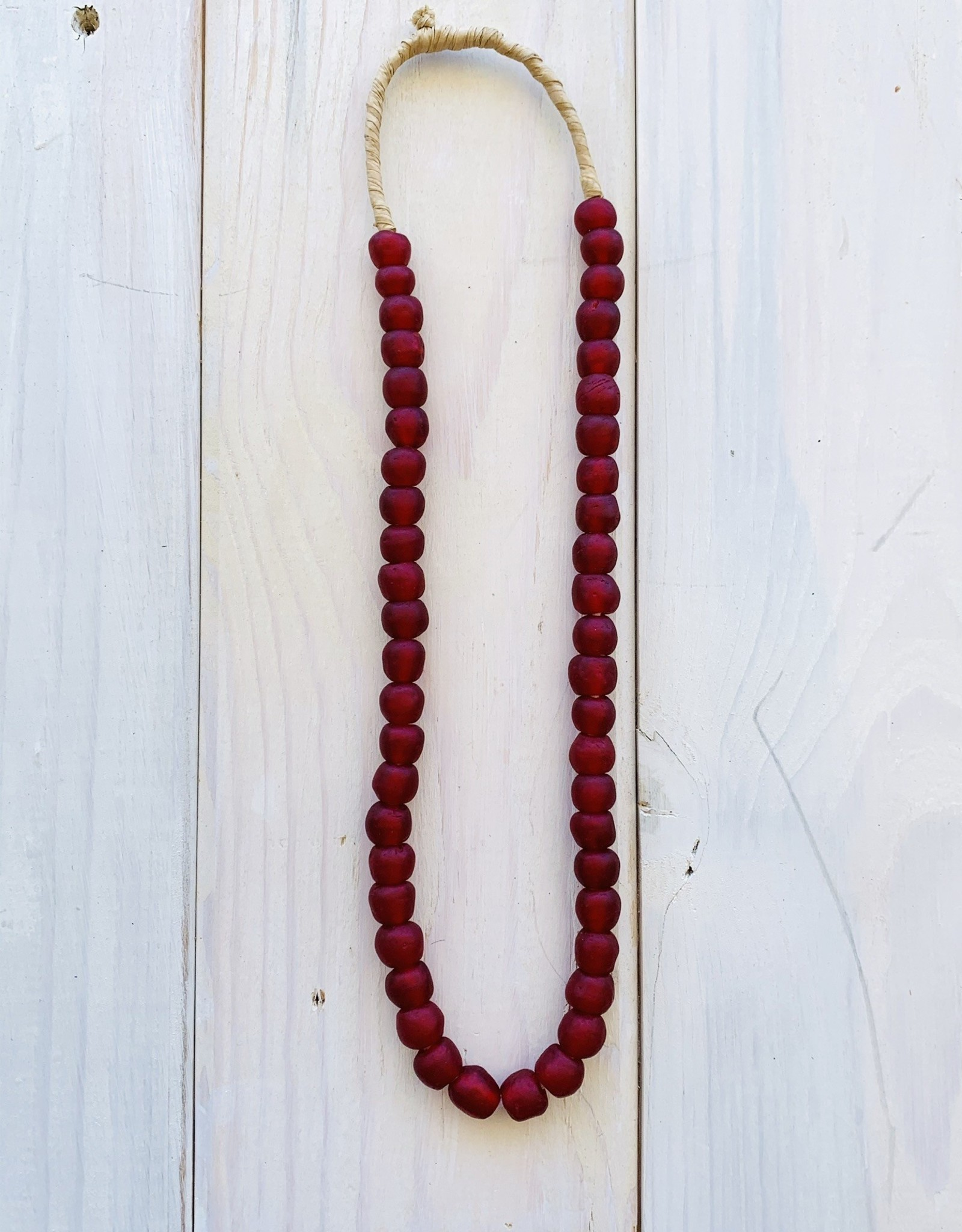 """Ghana Recycled Glass 13mm Ruby 24"""" Necklace"""