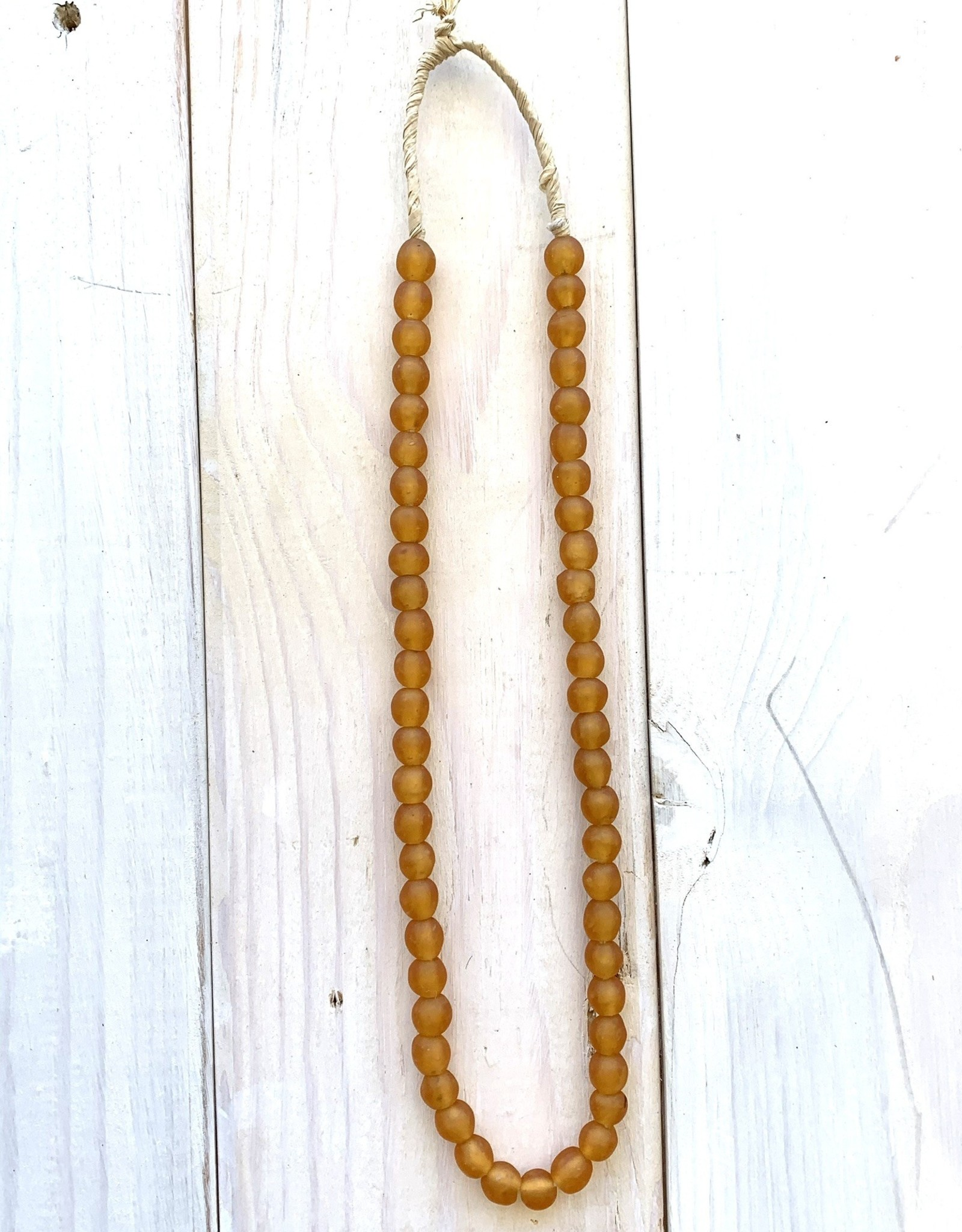 "Ghana Recycled Glass 10mm Amber 25""Necklace"