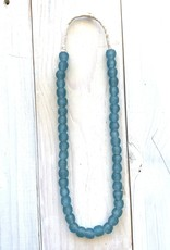 "Ghana Recycled Glass 13mm Blue Grey 26"" Necklace"
