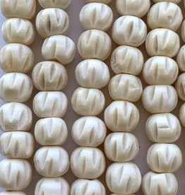 10mm Carved Bone White Large Hole Strands