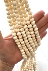 10mm Carved Bone White Large Hole Strands