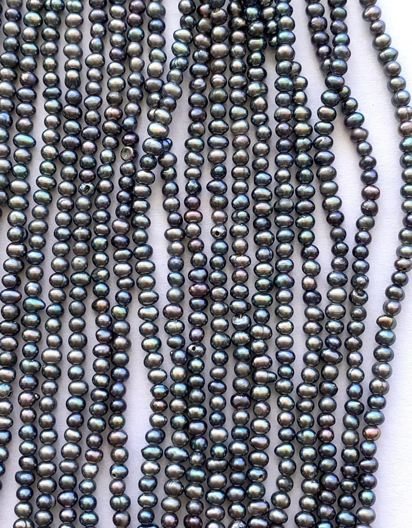 """2mm Dark Peacock Seed Pearls 15"""" st approx."""