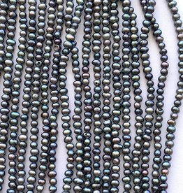 "2mm Dark Peacock Seed Pearls 15"" st approx."