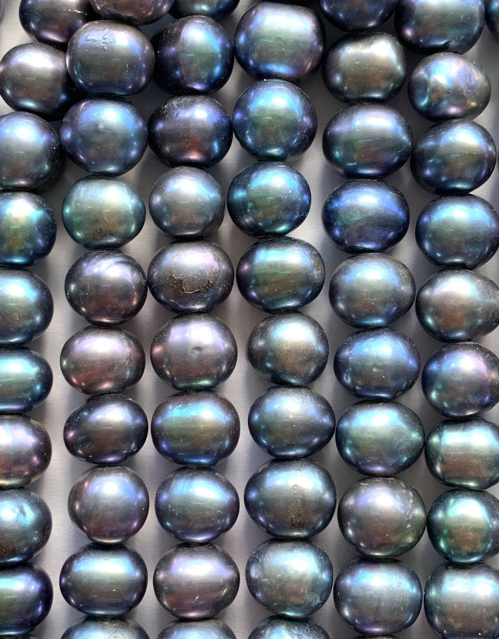10mm Peacock Pearl Large Hole Strand