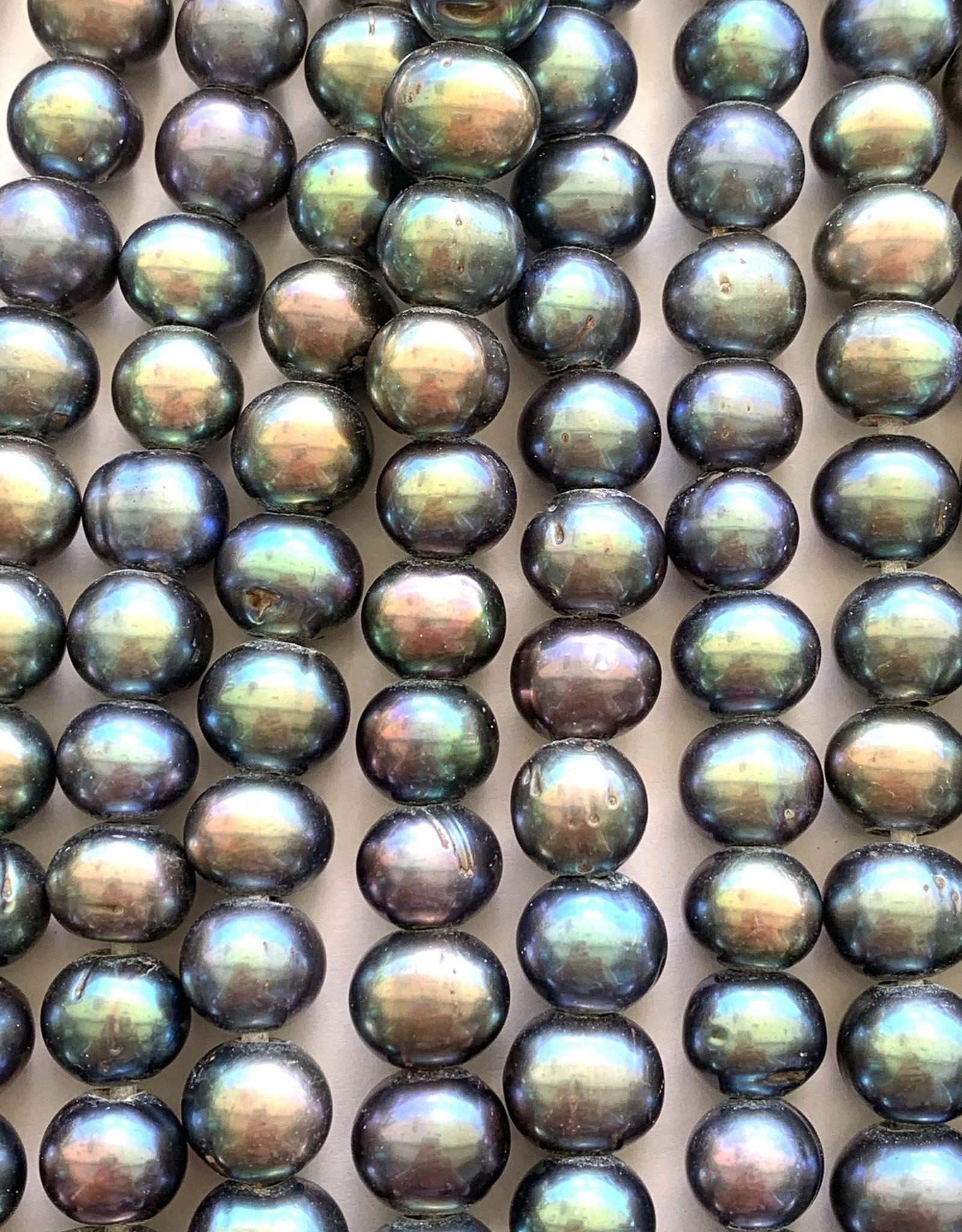 "10mm Peacock Potato Pearls w/2.5mm ID Holes 16"" St"