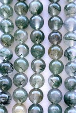 6mm Round Moss Agate Strands