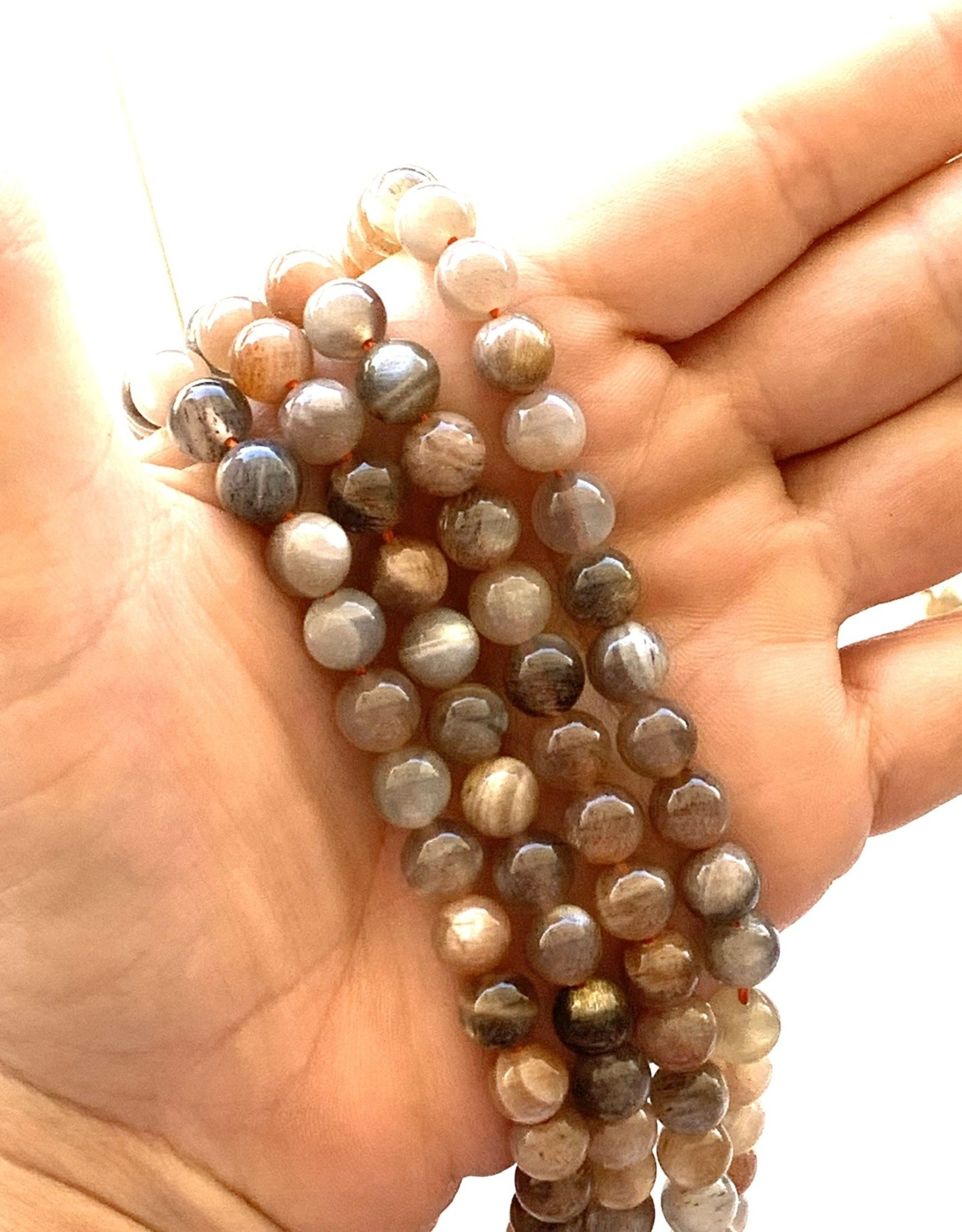 8mm Round Peach/Gray Moonstone Strands
