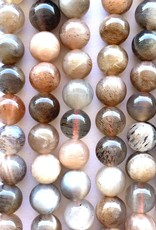 8mm Round Peach/Gray Moonstone Strands