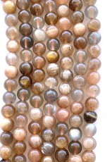 6mm Peach/Gray Moonstone Round Strands