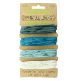 1mm Hemp Cord 20lb Aqua Shades 4 x 30ft