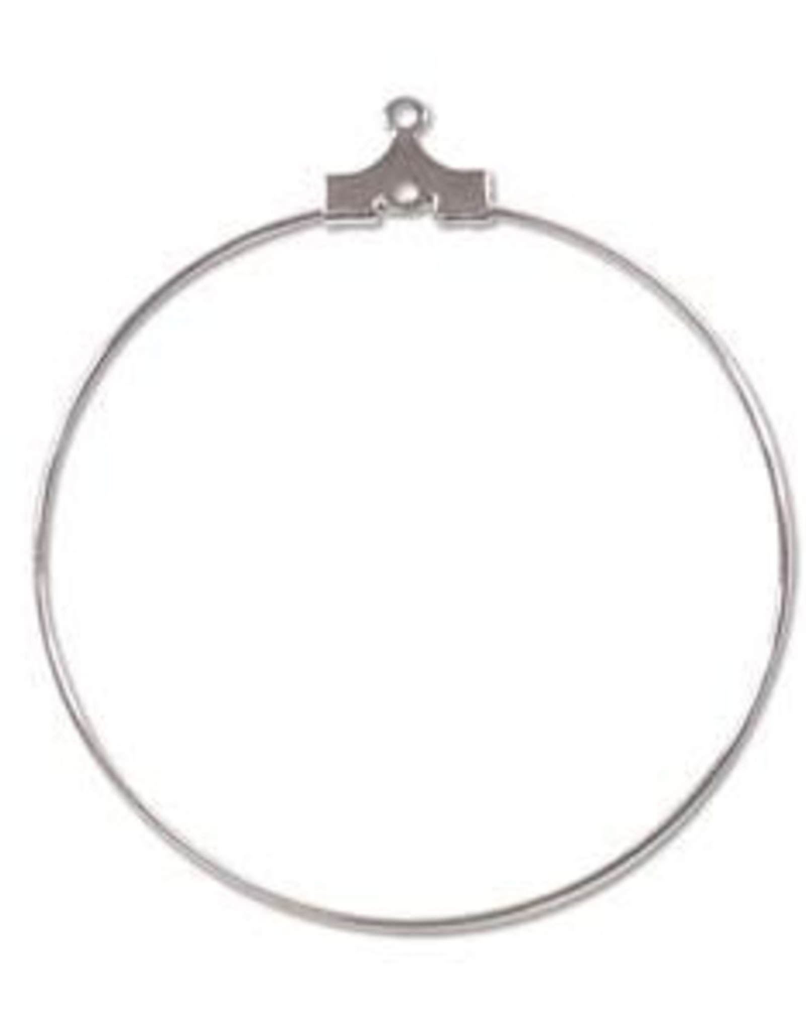 40mm Bead Hoop Silver Plate Qty 12