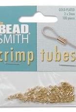 2x2 Crimp Tubes Gold Plate Qty 100