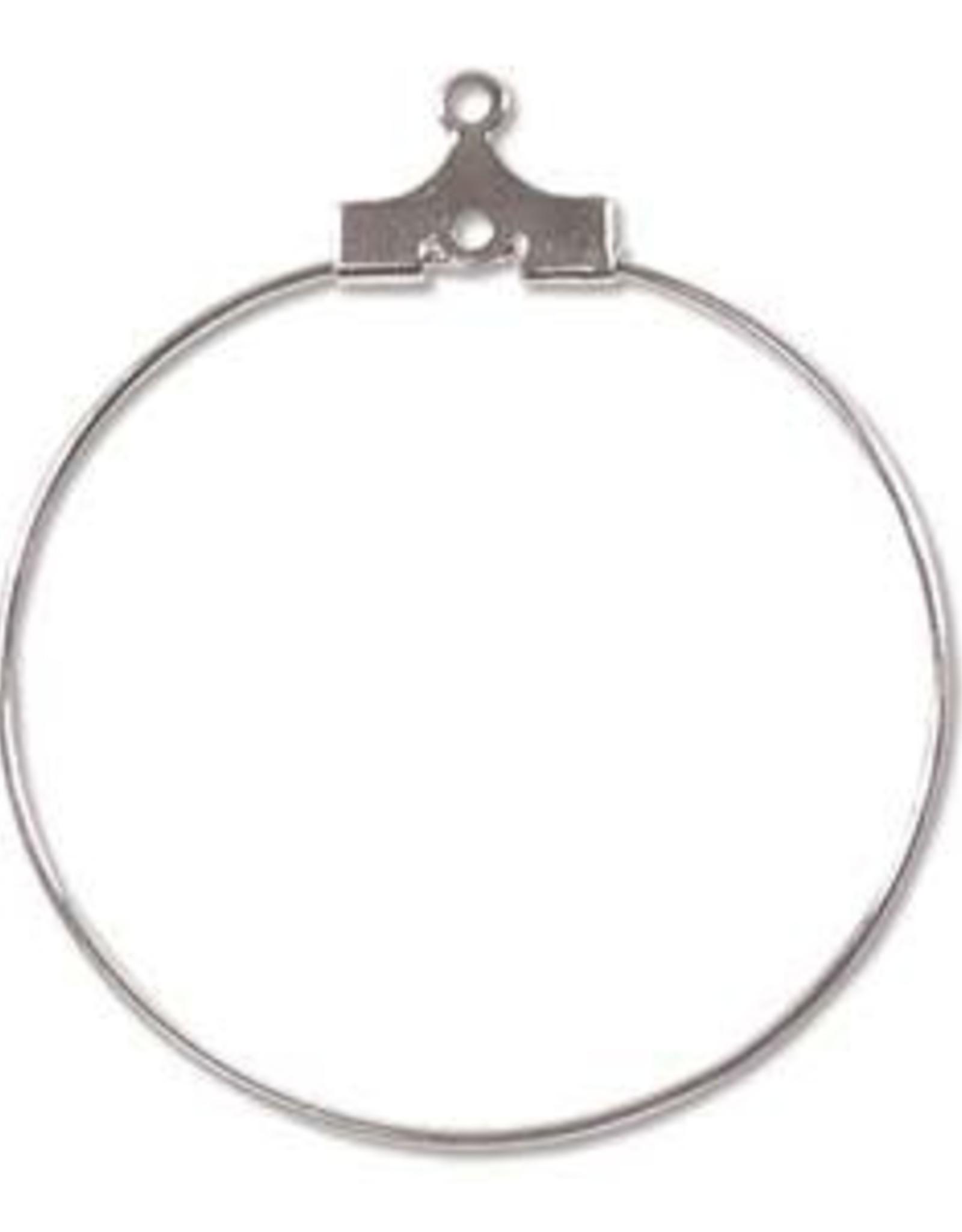 30mm Bead Hoop Silver Plate Qty 12