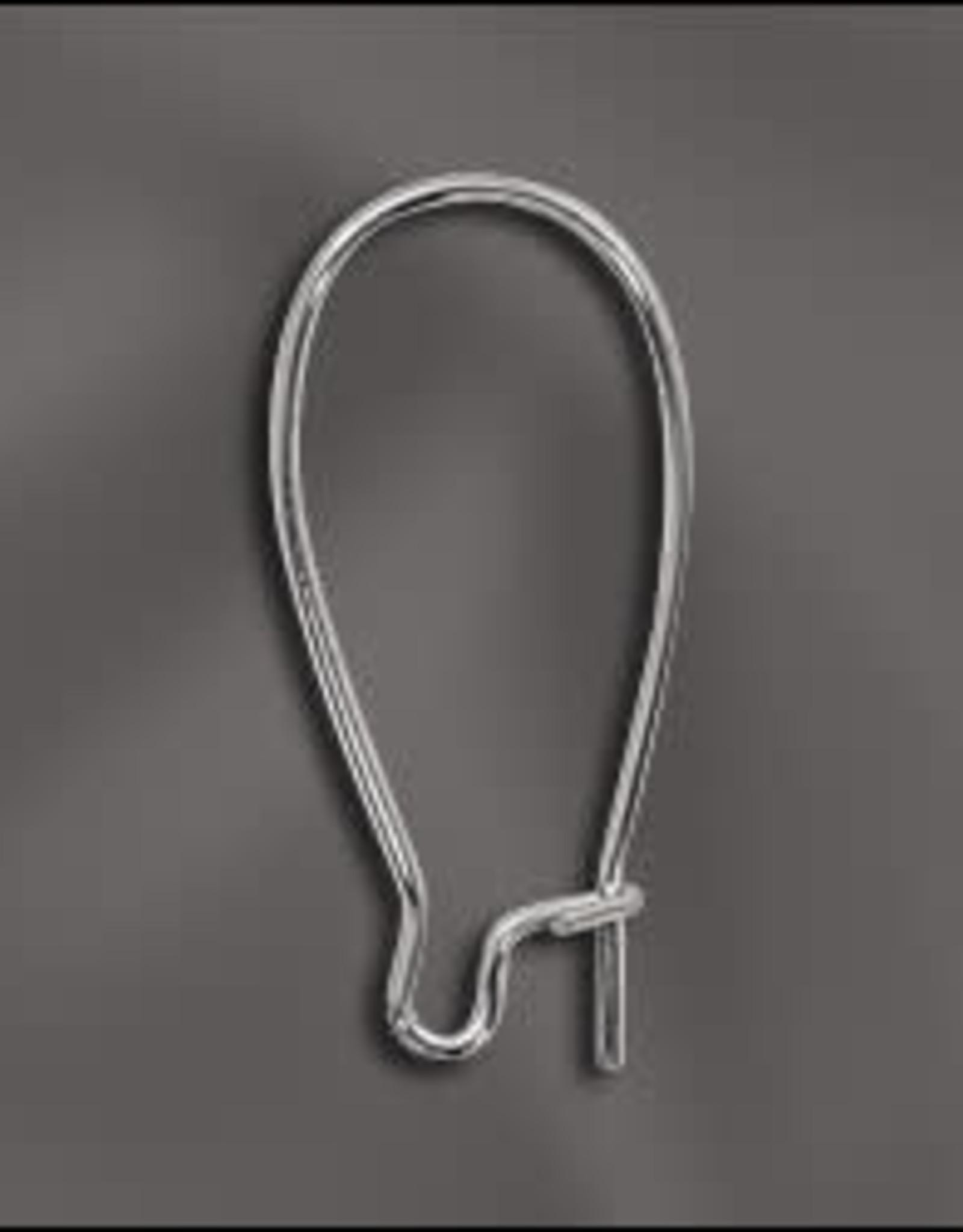 1'' Kidney Earwire, Silver Plate Qty 12