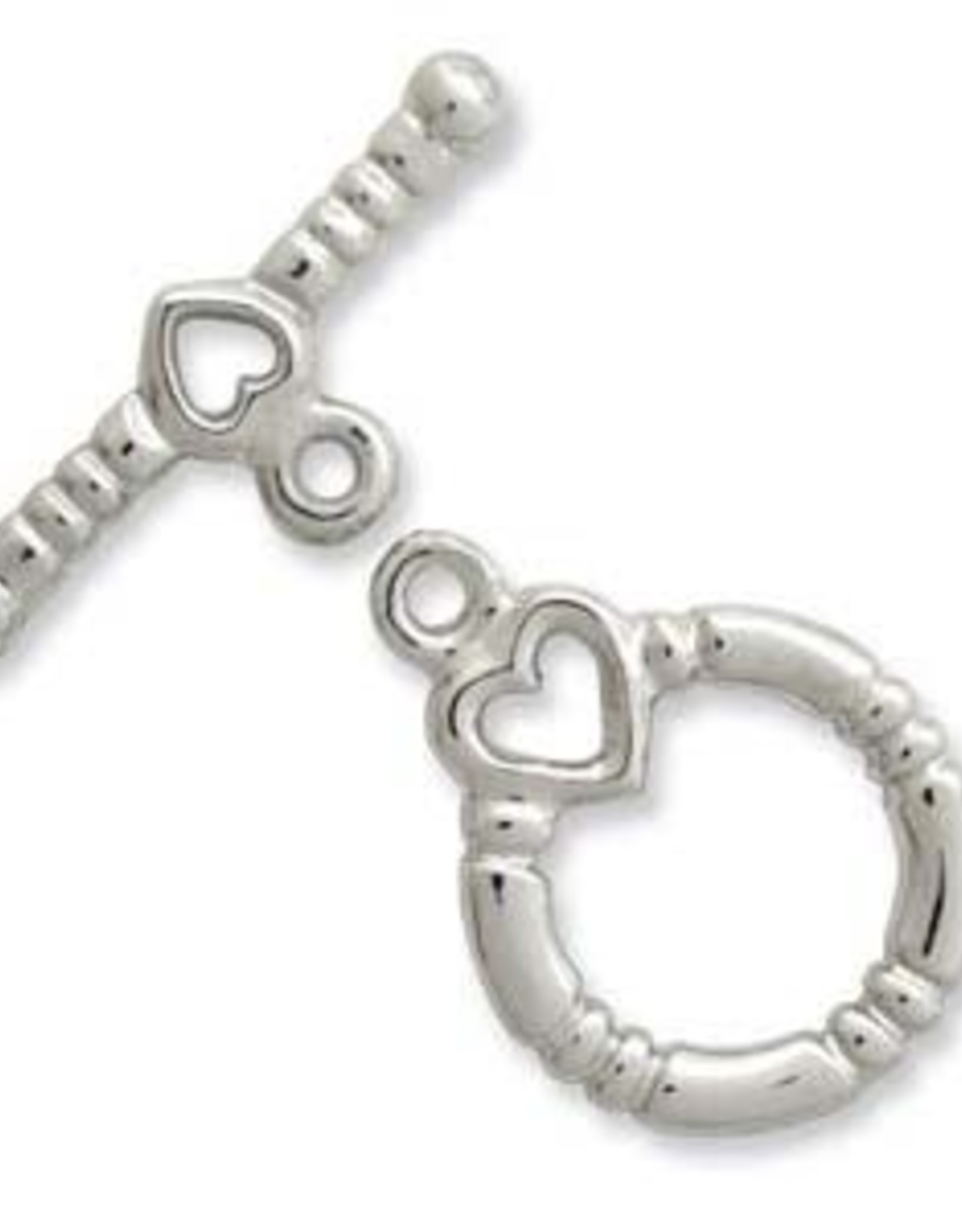 Toggle w Heart Silver Plate Qty 6