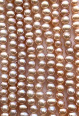 "5mm Pearls w/2mm ID Hole, Salmon Pink 16"" st approx."