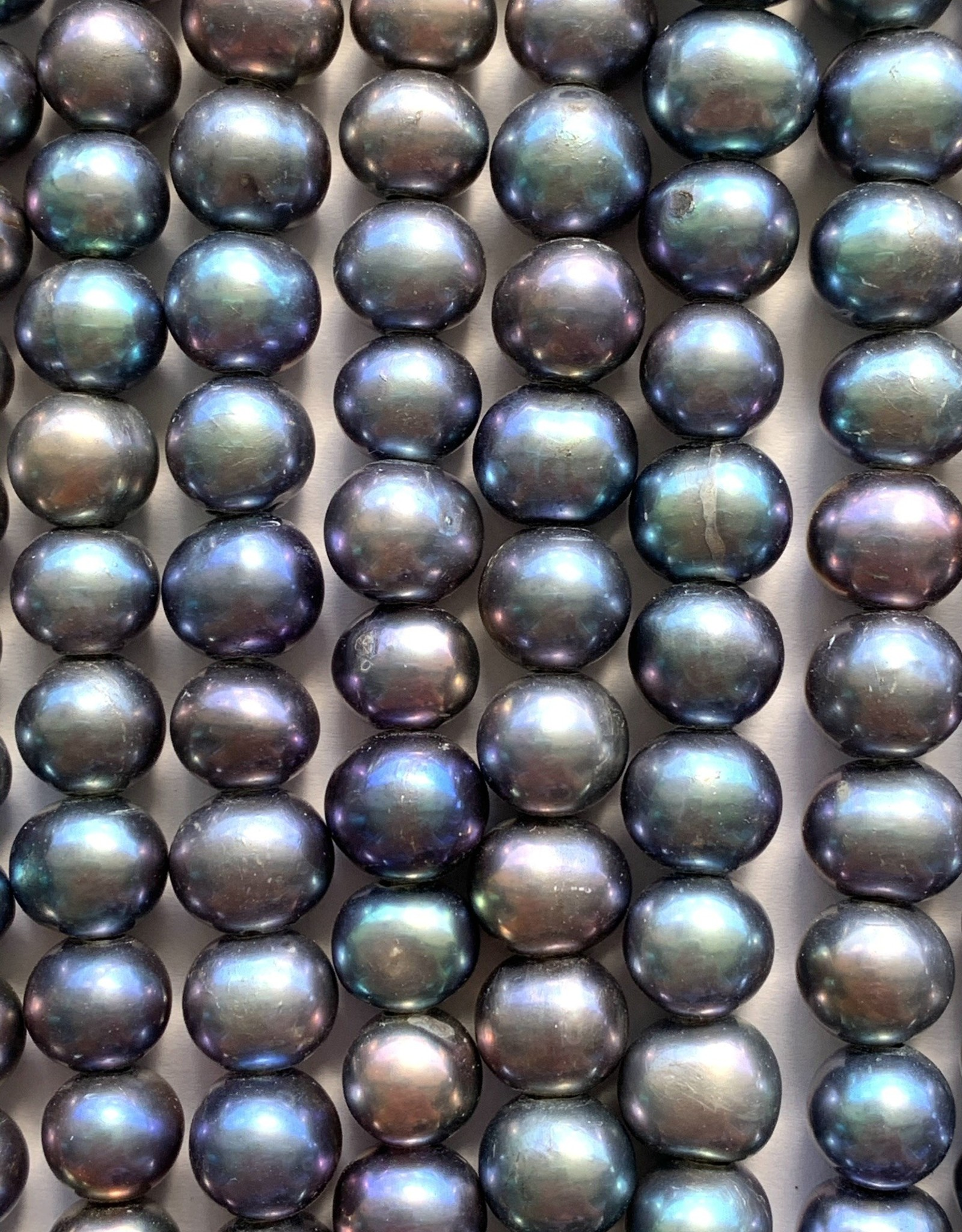"""8mm Peacock Pearls w/2mm ID holes 8"""" St"""