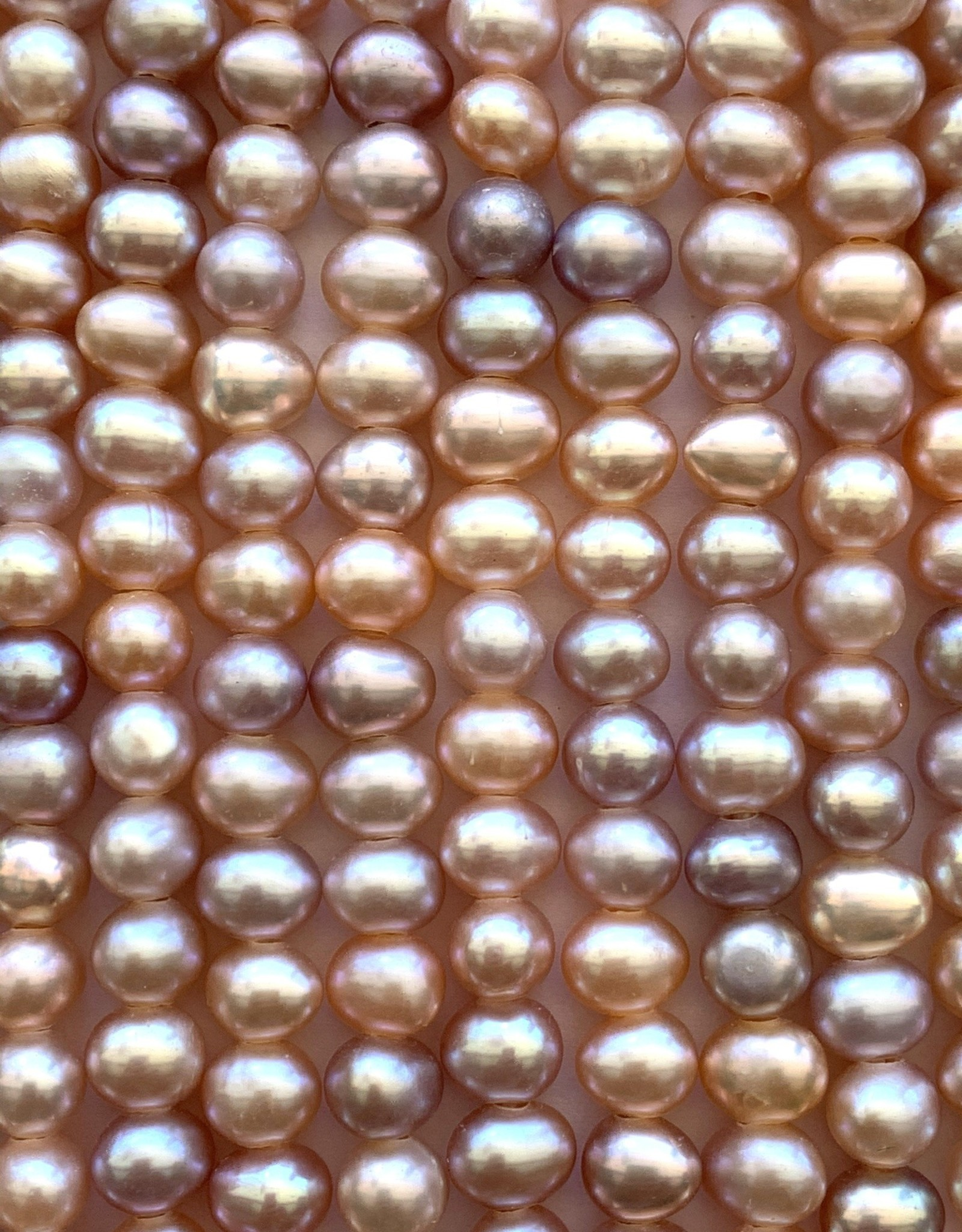 """6mm Pearls w/2mm ID Hole, Mauve Pink 15""""st approx."""