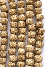 10mm Bone Carved Sun Large Hole Butterscotch Bead Strands