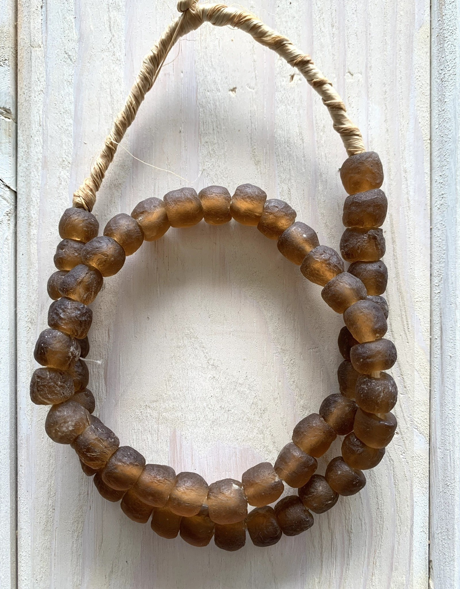 "Ghana Recycled Glass 10mm Brown 25""Necklace"